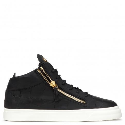 Giuseppe Zanotti - DANIEL - Men's Black Crocodile-Embossed Leather Sneaker