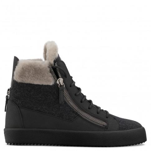 Giuseppe Zanotti - COLE - Grey Wool Men's Sneakers With Ram Fur