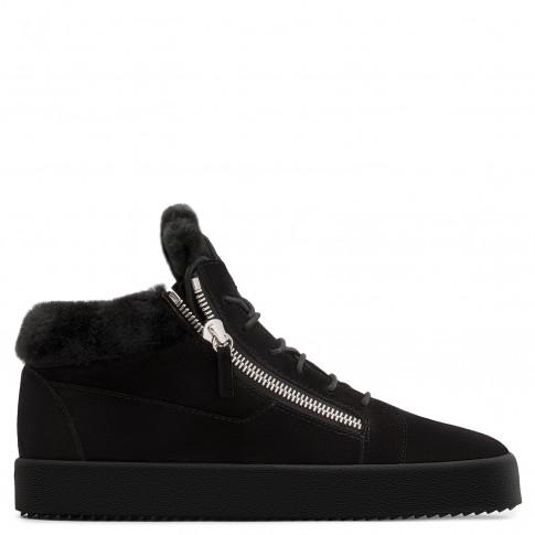 Giuseppe Zanotti - KRISS - Black Calf Suede Men's Mid-Top Sneaker With Ram Inserts