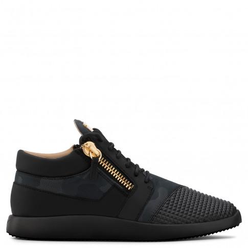 Giuseppe Zanotti - RUNNER - Camouflage Fabric Black Leather Men's Sneaker