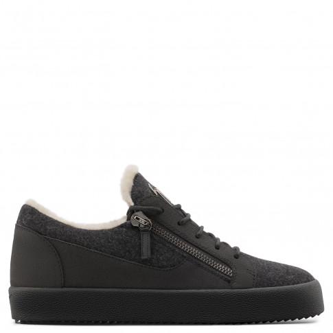 Giuseppe Zanotti - FRANKIE WINTER - Grey Wool Men's Low-Top Sneaker