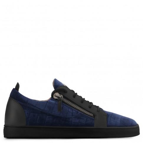 Giuseppe Zanotti - CHAD - Blue Crocodile-Embossed Velvet Men's Low-Top Sneaker