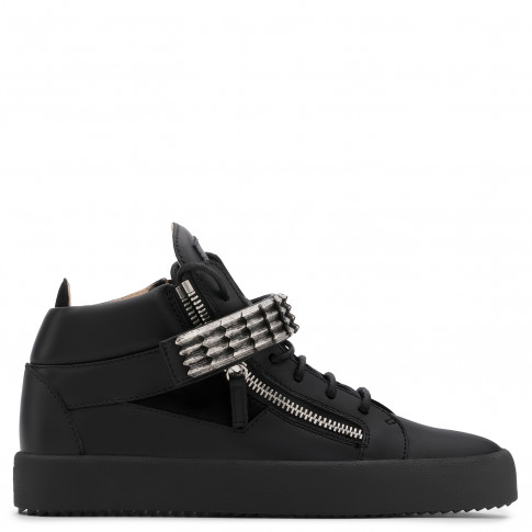 Giuseppe Zanotti - STAN - Black Suede And Calfskin Leather Men's Mid-Top Sneaker With Metal