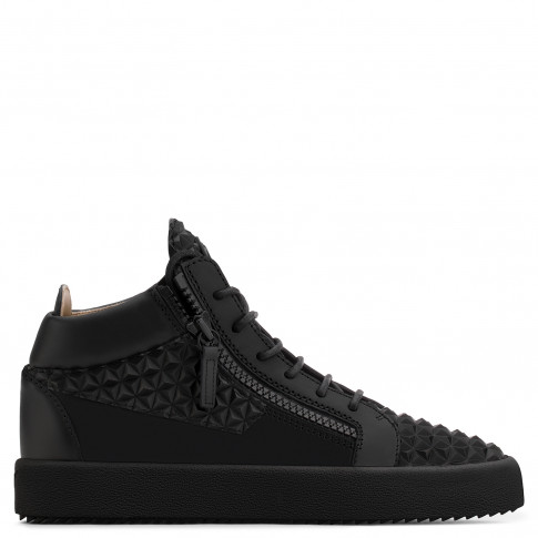 Giuseppe Zanotti - THE MANHATTAN - Black 3D calfskin leather Men's mid-top sneaker