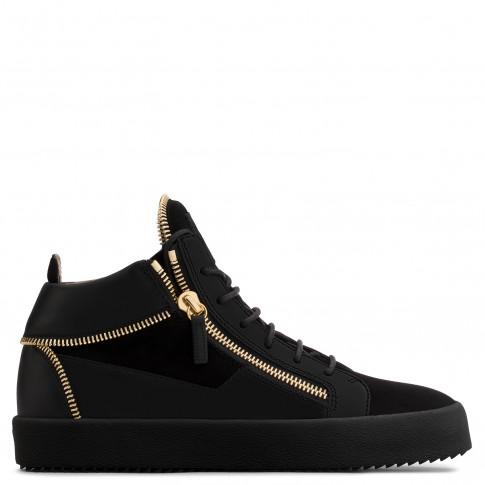 Giuseppe Zanotti - KIRK - Black Suede Men's Mid-Top Sneaker With Golden Zips