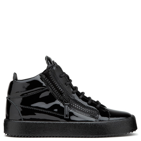 Giuseppe Zanotti Mid Tops - KRISS - Women's Black Patent Leather Sneakers
