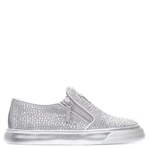 Giuseppe Zanotti Low Tops - FAITH - Women's Silver Sneakers
