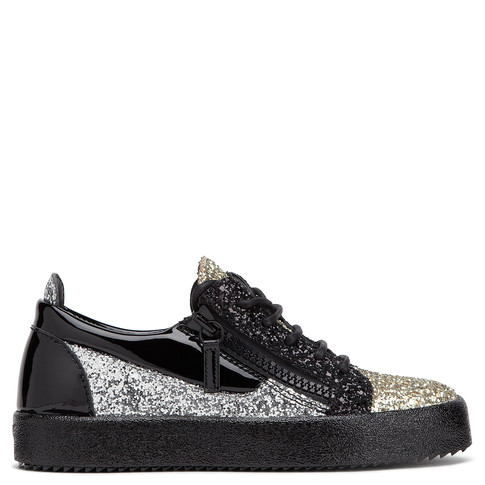 Giuseppe Zanotti Low Tops - NICKI GLITTER - Women's Black/Gold/Silver Sneakers
