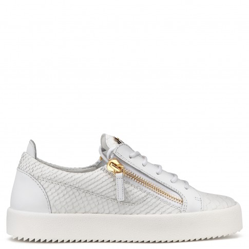 Giuseppe Zanotti - NICKI - White Embossed-Python Leather Low-Top Women's Sneakers