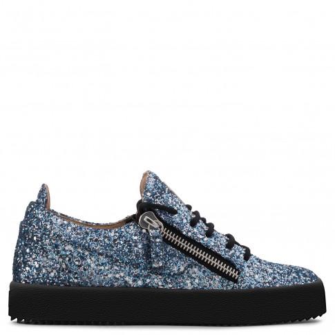 Giuseppe Zanotti - GAIL GLITTER - Blue Fabric And Leather Women's Sneaker With Glitter