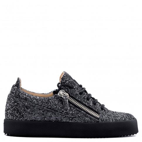 Giuseppe Zanotti - GAIL GLITTER - Grey Fabric And Leather Women's Sneakers With Glitter