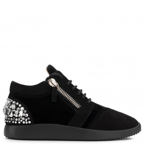 Giuseppe Zanotti - MELLY - Black Suede Women's Sneaker 'Runner' With Crystals