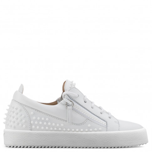 Giuseppe Zanotti - GAIL STUDS - White Calfskin Leather Women's Sneaker With Studs