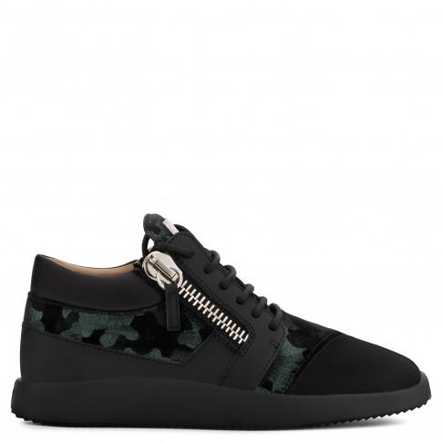 Giuseppe Zanotti - RUNNER - Black Suede And Camouflage Velvet Women's Mid-Top Sneaker