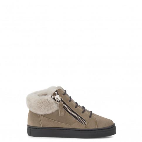 Giuseppe Zanotti Kids Shoes KRISS Green Calf Suede Baby's Sneakers