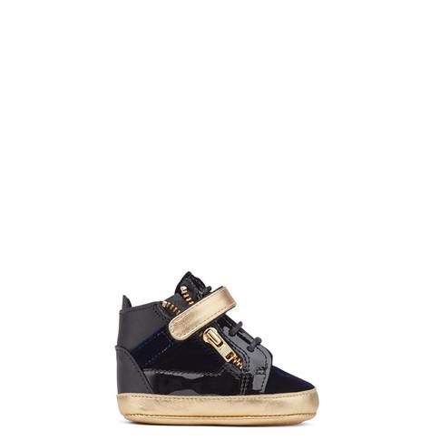 Giuseppe Zanotti Baby - COBY - Kids Dark Blue Velvet Gold Sneakers