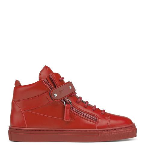 Giuseppe Zanotti Teen - TAYLOR - Kids Red Leather Sneakers