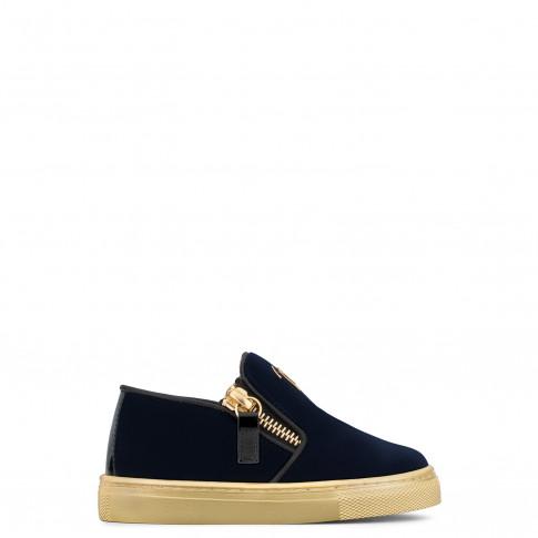 Giuseppe Zanotti - GARY JR. - Dark Blue Velvet Slip-On Baby's Sneaker