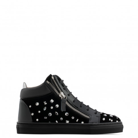 Giuseppe Zanotti - THE DAZZLING JUNIOR - Black Velvet Teen's Mid-Top Sneaker With Crystals
