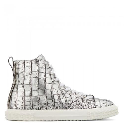 "Giuseppe Zanotti Men's Sneakers ""Silver Blabber"" Mid-Tops"
