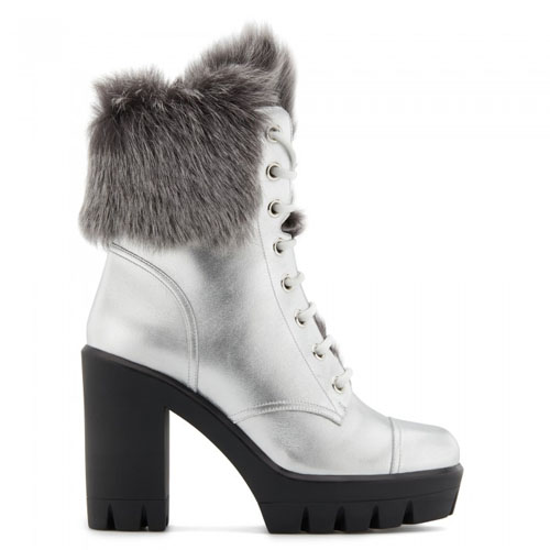 Giuseppe Zanotti - MOYRA - Silver Leather High-Heels Women's Boots