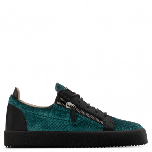 Giuseppe Zanotti - FRANKIE - Green Python-Embossed Velvet Low-Top Men's Sneakers