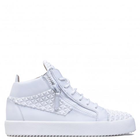 Giuseppe Zanotti - THE MANHATTAN - White 3D Calfskin Leather Mid-Top Men's Sneakers