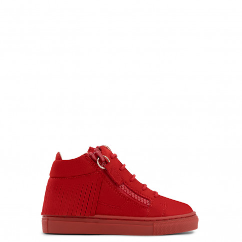 Giuseppe Zanotti Kids - HAILY - Red Suede Baby's Sneaker With Fringes