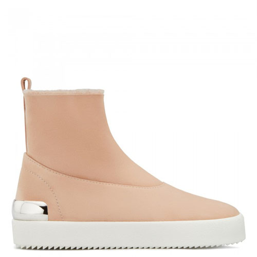 Giuseppe Zanotti - TRACY STEEL - High-Top Pink Suede Sneakers Boots