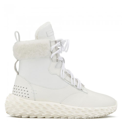Giuseppe Zanotti - URCHIN - White High-Top Women's Suede Sneakers