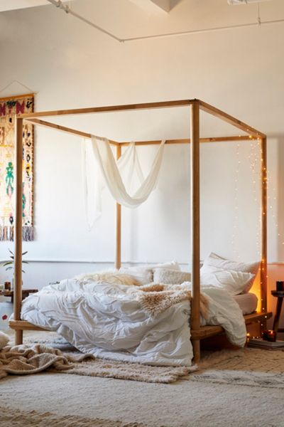 """Wooden Canopy Bed """"Rustic Boho"""""""