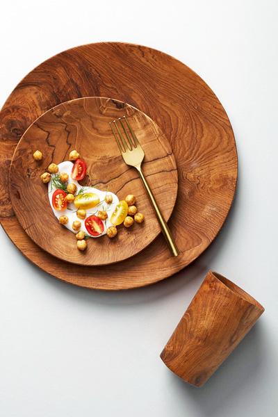 """Anthropologie Wooden Dinnerware Set """"Madera"""""""