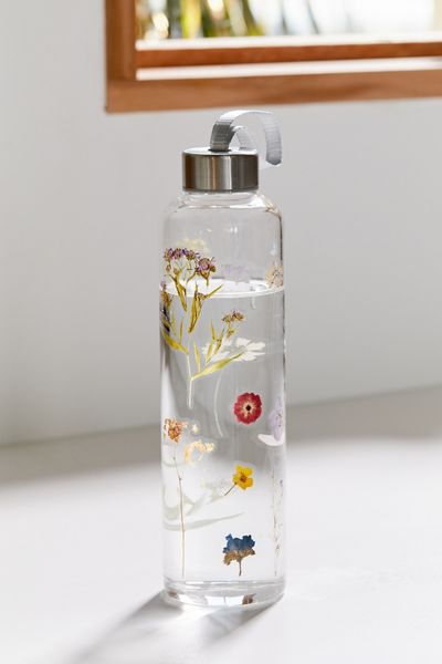 """Glass Water Bottle """"Pressed Floral"""""""