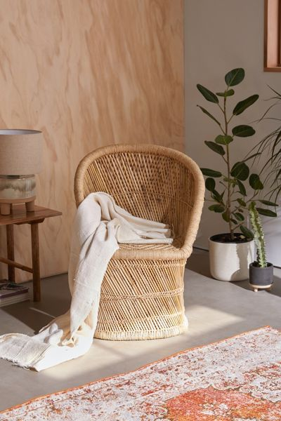"Woven Bamboo Wicker Chair ""Willow"""