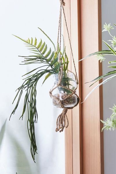 Hanging Potted Tropical Faux Plant