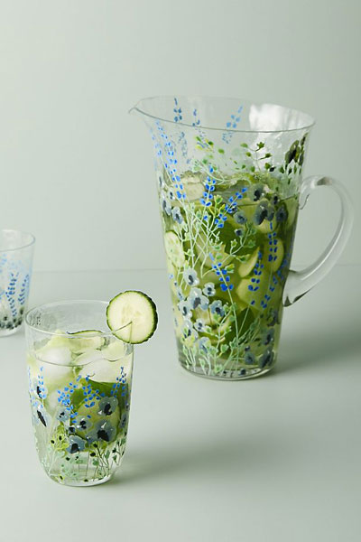 """Floral Pitcher """"Clemence Glassware"""""""