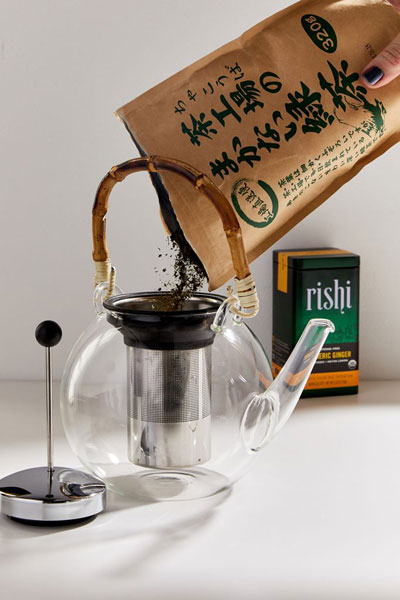 Glass And Bamboo Tea Pot