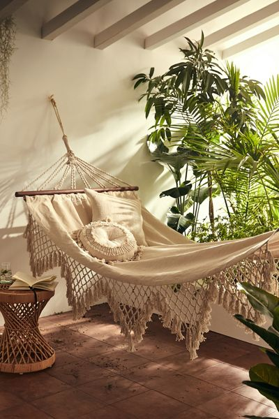 Boho Fringed Outdoor Hammock