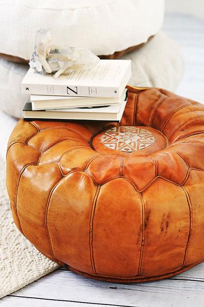 Moroccan Ottoman Leather Poufs