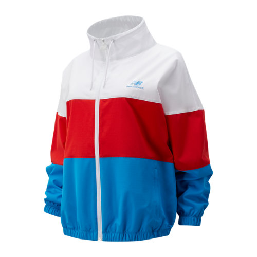 New Balance 01600 Women's Boston NB Athletics Full Zip Windbreaker - Red (WJ01600ZVLR)