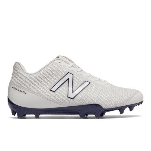 New Balance Burn X Low-Cut Cleat Men's Lacrosse Shoes - White / Blue (BURNXLPB)