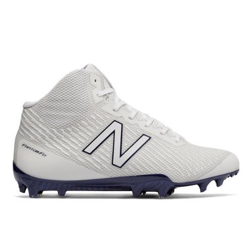 New Balance Burn X Mid-Cut Cleat Men's Lacrosse Shoes - White / Blue (BURNXMPB)