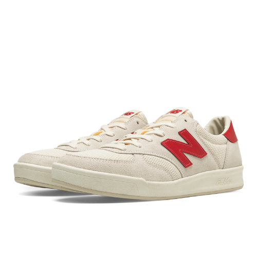 New Balance 300 Vintage Men's Court Classics Shoes - White / Red (CRT300WR)