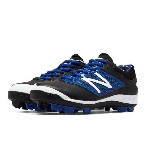 New Balance Low-Cut 4040v3 Rubber Molded Cleat Kids Grade School Sports Shoes - Black / Blue (J4040BB3)