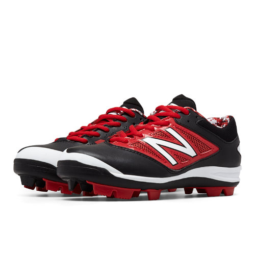 New Balance Low-Cut 4040v3 Rubber Molded Cleat Kids Grade School Sports Shoes - Black / Red (J4040BR3)