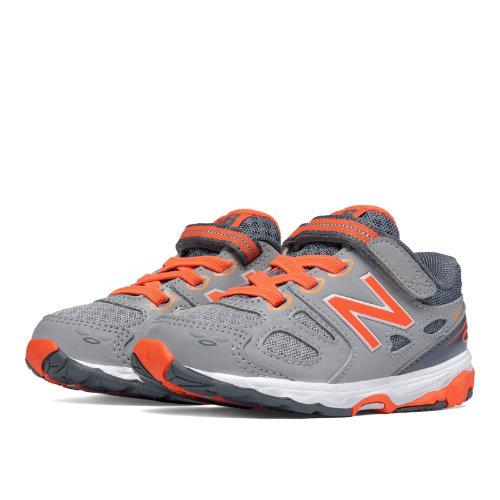 New Balance Hook and Loop 680v3 Kids Infant Running Shoes - Grey / Orange (KA680GOI)