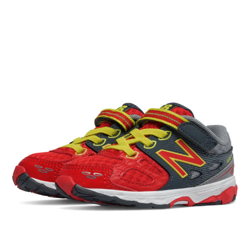 New Balance Hook and Loop 680v3 Kids Infant Running Shoes - Grey / Red (KA680RDI)