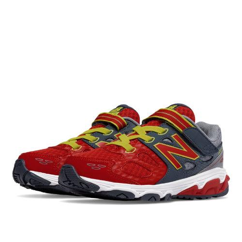 New Balance Hook and Loop 680v3 Kids Grade School Running Shoes - Grey / Red (KA680RDY)