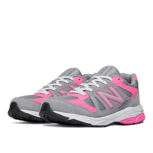 New Balance 888 Kids Grade School Running Shoes - Grey / Pink (KJ888PKG)
