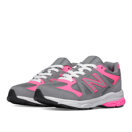 New Balance 888 Kids Pre-School Running Shoes - Grey / Pink (KJ888PKP)